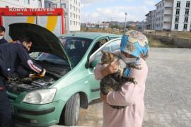Otomobilden kedi kurtarma operasyonu