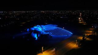 Selçuklu'nun sembol binaları otizm için mavi oldu